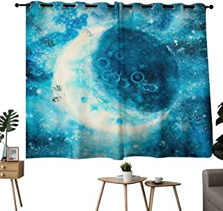 Mannwarehouse Bedroom Windproof Curtain Moon Phase Suitable for Bedroom Living Room Study, etc.55 Wx39 L