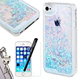 Coque iPhone SE We Love Case Coque iPhone 5 Glitter Paillettes Amour Bleu Clair Etui Liquide Étoiles Etui pour Apple iPhone 5 5S Rigide Protection Bumper Case Anti Scratch Résistant Choc
