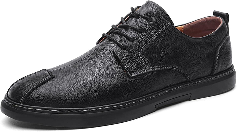 Men's Oxford Shoes Texture Business Leather Shoes Lace-up Casual Dress Shoes