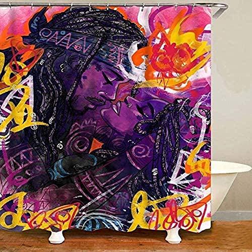 Wasserabweisend Shower Curtain Afrikanische Frau Afro Queen King Paar Liebhaber Duschvorhang Wasserdichter Polyester Badvorhang, Graffiti Art Decor, Mit 12 Stück Haken Für Badewanne