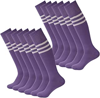 Soccer Socks,Fasoar Unisex Long Tube Stripe Knee High Football Socks Pack of 2,6,12