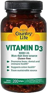 Country Life Vitamin-D3 5000 IU - 200 Softgels