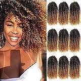 8 Inch Short Marlybob Crochet Hair 9 Bundles/Lot Afro Kinky Curly Crochet Braids Ombre Braiding Hair Synthetic Hair Extension (1B/27#)