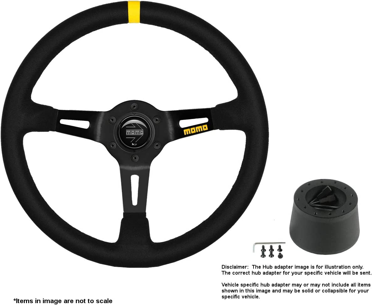 MOMO MOD.08 350mm 13.78 Inches w Brushed Outstanding Fresno Mall Wheel Suede Steering