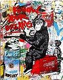 Orlco Art Graffiti Art Canvas Banksy Graffiti Painting - Póster de mono Orangutan (122 x 81 cm), diseño de corazón rosa