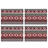 Now Designs Woven Cotton Placemat, Sonoma Red - 13 x 19 in | Set of 4