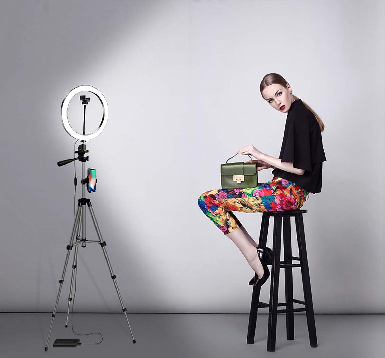 JIAWEI LED-Ringfüllleuchte - 26 cm Dimmbare Make-Up-Stehleuchte - Mit Stativ Und 1M-Teleskopstange - Für Die Video- Und Live-Erstellung Von YouTube