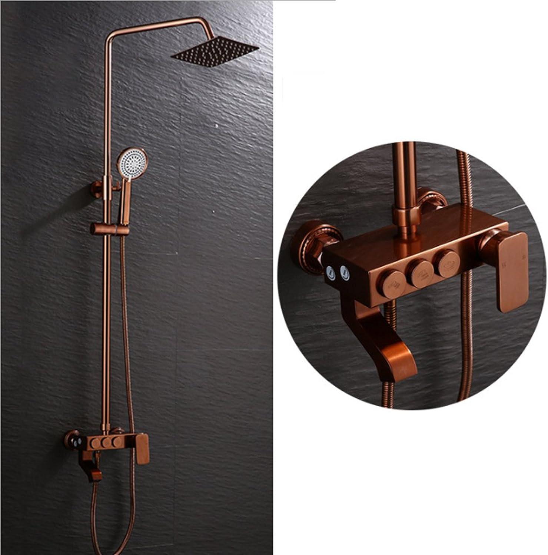 JIAJU Dusch-Set Badezimmer Dusche Grünckte Wasserhahn hei und Kalt Aufzug RoséGold Raum Aluminium Drei Gang Dusche
