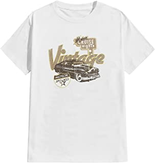 SOLY HUX Men's Casual Letter Car Print Short Sleeve T Shirt Graphic Tee Top