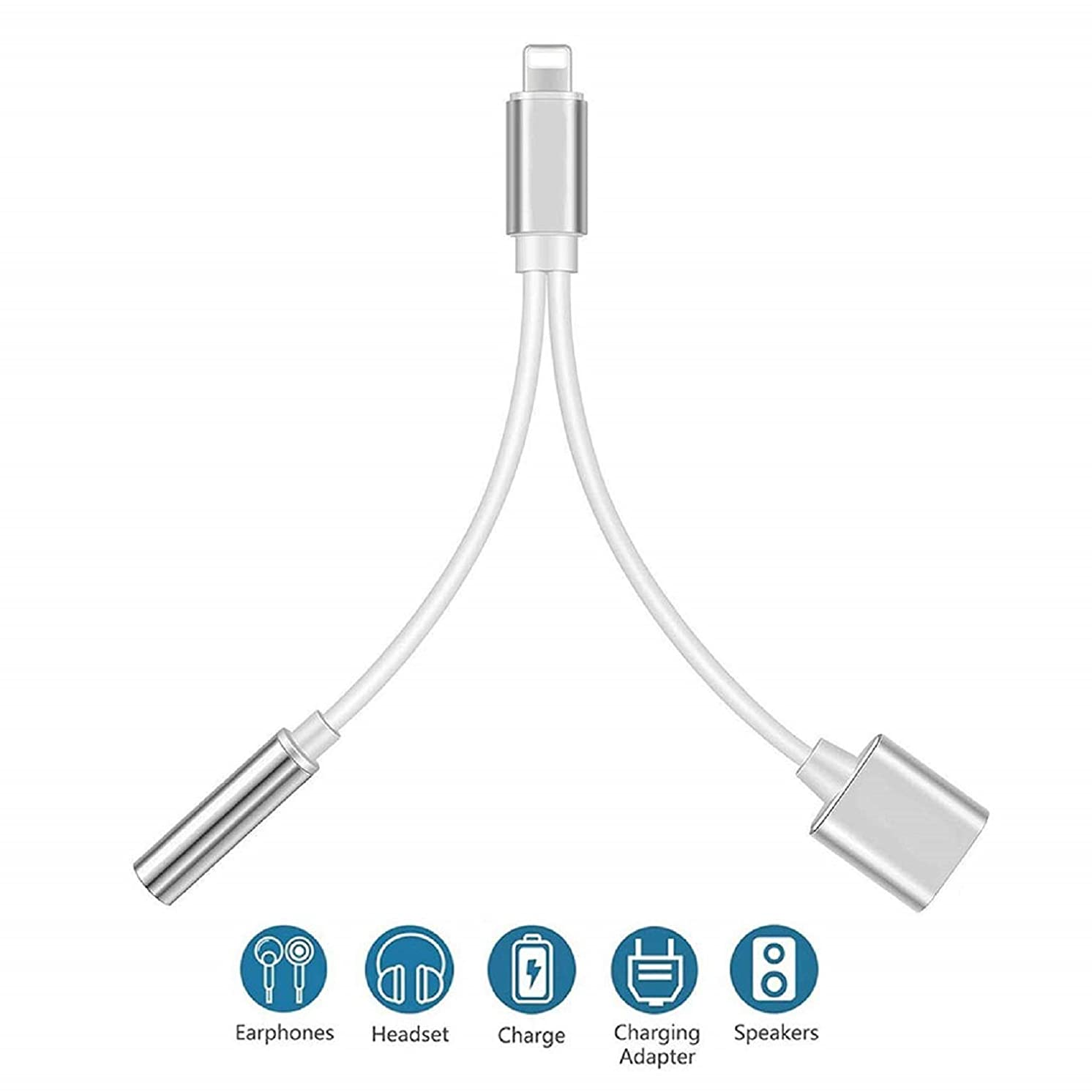 Headphone Jack Adapter Earphone Splitter Adaptor Dongle 2 in 1 Chargers & Aux Audio Connector Charger Cable Support All iOS System