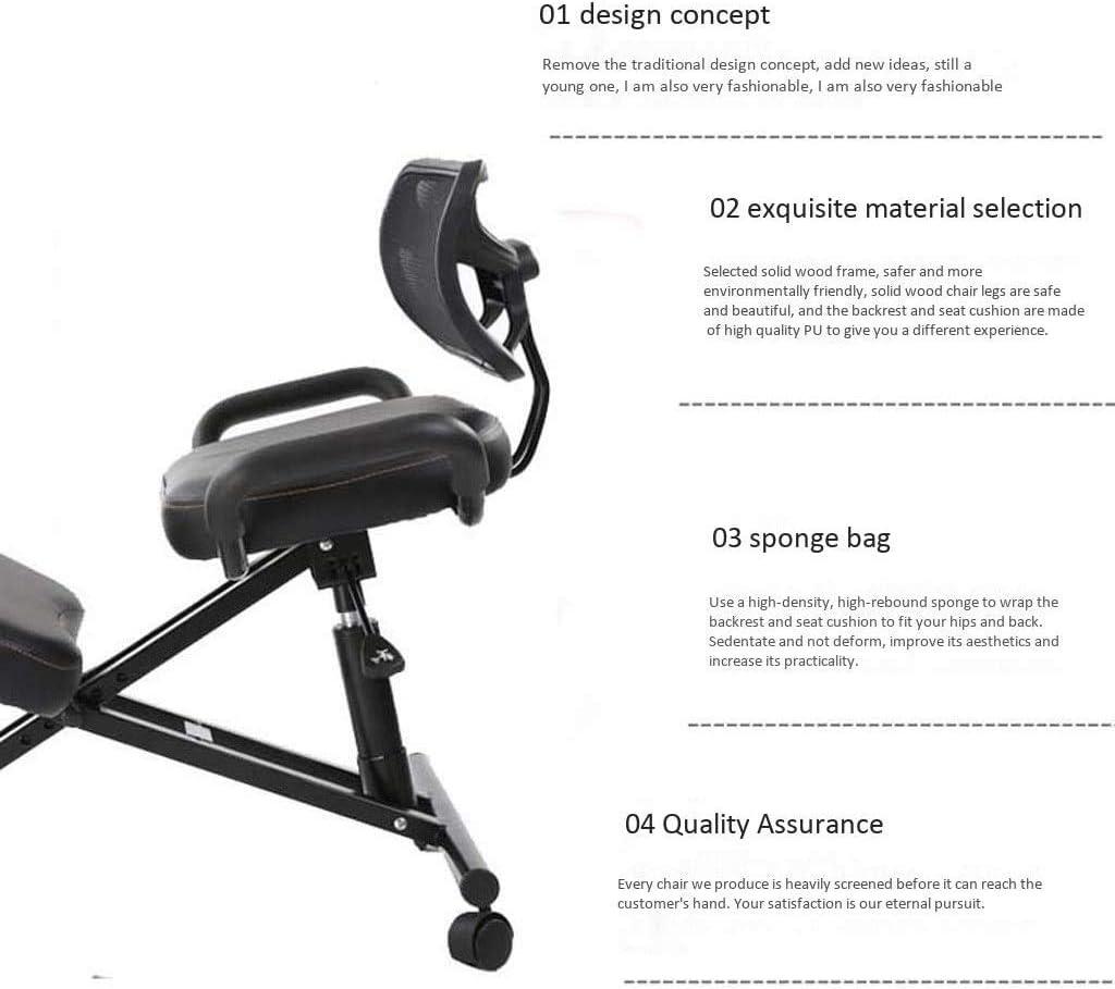 ZLJ Chaise à Genoux, chaises de Bureau ergonomiques Tabouret réglable à Posture Ergonomique, avec Roue de Chaise avec Support arrière (Couleur: Noir), Noir Black