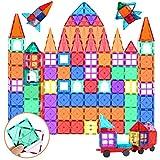 SUNHE YHK Magnetic Building Tiles, 100 Pcs 3D Magnetic Building Blocks Set for Kids, STEM Educational Preschool Magnet Toys for Toddlers Boys Girls 3 4 5 6 7 8 Year Old