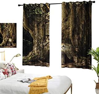 Warm Family Burgundy Curtains Fantasy,Fairytale House in Tree Trunk in Forest with Lanterns Folk Stories Themed Design,Umber Brown 84