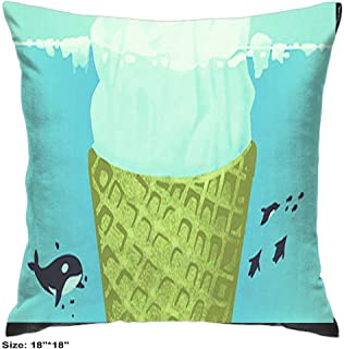 Pillowcases Cover Cotton with Zipper Two Sides Patterns Soft House Decorative Whale Icecream Iceberg (18inch18inch)