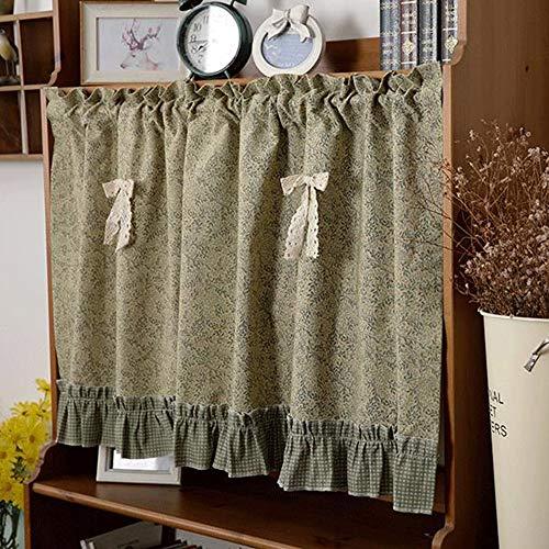 QXMR Cortina de Cocina de Estilo Rural Crochet de Lino de algodón Media Cortina Hueco Cortina de café Cortina Corta Vintage Cenefa de Ventana pequeña