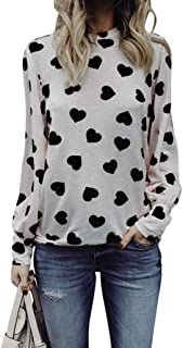 Ankola T-Shirts, Womens Heart Printed Long Sleeve Valentines Tops Casual Loose Blouse