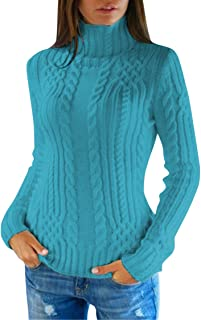 Pink Queen Women's Cable Knit Turtleneck Casual Pullover Sweater