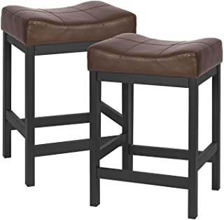KATDANS Bar Stools Set of 2-Counter Height Stools - 24 Inch Saddle Stool - PU Leather Kitchen Stools - Brown/Black - Metal...