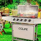 CCLIFE Griglia per Giardino A Gas con 5 Bruciatori con Termometro, Colore: Argento, Barbec...