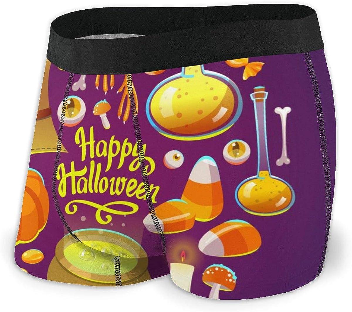 Mens Underwear Happy Halloween Chemistry Pumpkin Composition Boys Boxer Briefs Trunks Low Rise Underpants Man