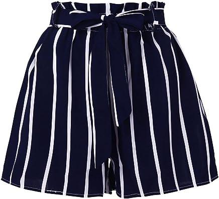 11eeeb7724 Inkach-- Womens Casual Losse Shorts - Elastic Waist Stripe Prined Short  Pants with Pocket
