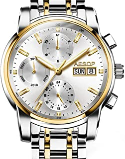 Aesop Top Brand Luxury Men Day Date Analog Automatic Self Winding Mechanical Wrist Watch with Steel Band Luminous Silver Gold White