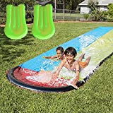 Seltochum Water Slides, Outdoor Lawn Water Slip and Slide for Backyard with 2 Body Boards, Summer Water Toys for Kids with Crash Pad & Build in Sprinkler