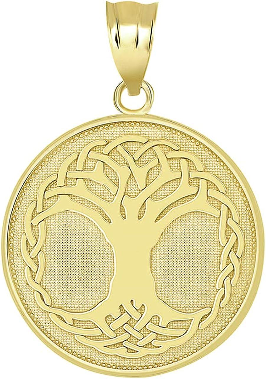 Certified 10k Gold Tree Of Life Medallion Pendant