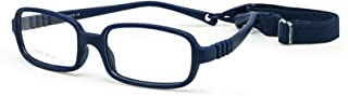 EnzoDate Children Optical Glasses Frame with Strap Size 48, One-piece Kids Glasses with Cord, No Screw Flexible Girls Boys...