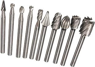homozy 10pcs HSS Conjunto De Rebarbas Rotativas Em Aço Com Haste De 1/8 '' / 3mm Para Ferramenta Rotativa De Moedor