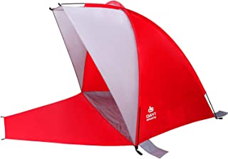 Beach Shade with Sand Stakes, Carry Bag in RED or Blue by D1S - Extended Canopy for Sun, Shade, Shelter - Portable, Day Tents - Outdoor Cabana Tent, Mesh Window, Privacy Screen, UV Protection
