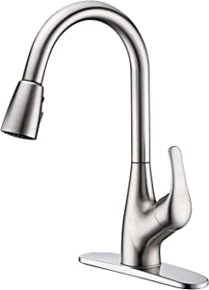 Purelux Tulip Kitchen Sink Faucet with Pull Down Sprayer Deck Plate Single Handle Control, Brushed Nickel Pull Out High Arc Design