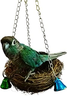 QBLEEV Bird Swing,  Bird Nest Hammock,  Rattan Nest,  Hanging Chew Toys,  Bird Cage Swing Perch with Bell Toys for Small Budgie Parrotlets Cockatiel Conure Lovebird Finch