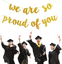 Graduations Party Supplies 2019 Congratulations Banner, Gold We are So Proud of You Banner for College Graduation Decorations(No DIY Required)
