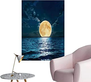 Anzhutwelve Ocean Wall Paper Magical Super Moon Over Ocean Surface Midnight View Dreamy Mystic Picture PrintYellow Navy W32 xL48 Space Poster