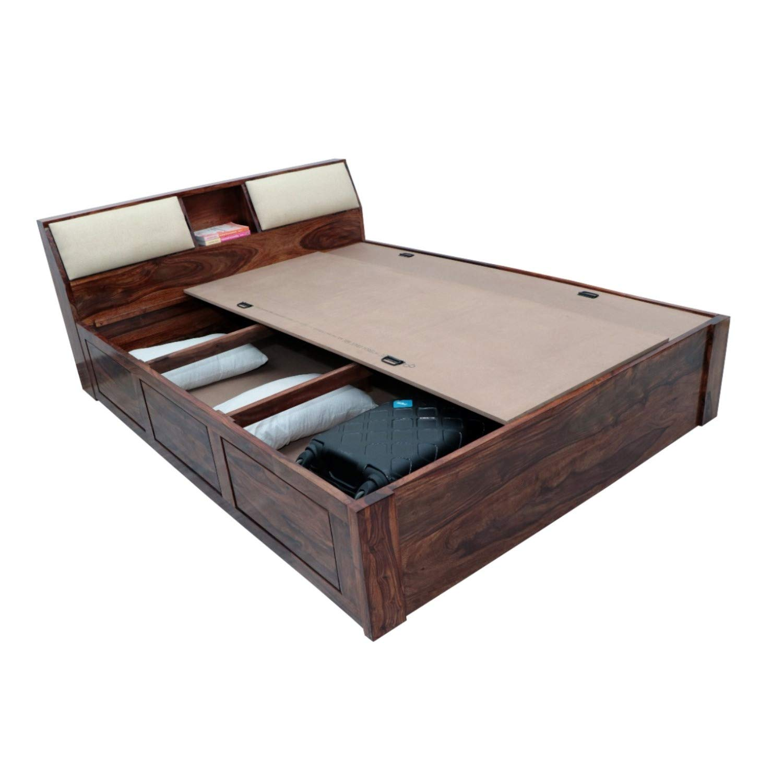 Ganpati Arts Wood;Sheesham Regular Queen Bed With Storage  Brown  Beds, Frames   Bases