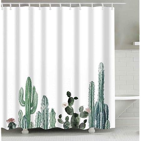 Ambesonne Cactus Shower Curtain Arizona Desert Themed Doodle Cactus Staghorn Buckhorn Ocotillo Plants Cloth Fabric Bathroom Decor Set With Hooks 70 Long Light Green Home Kitchen