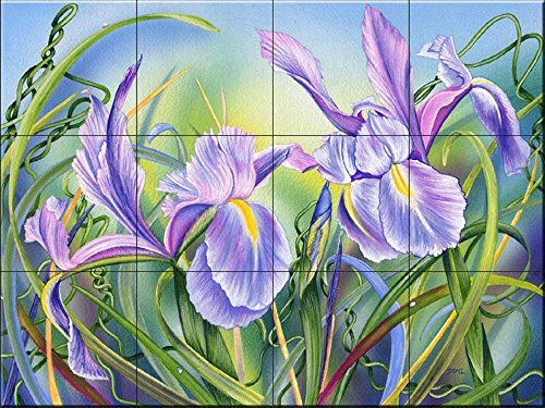 Murale di piastrelle di ceramica - Primavera Iris- di Denise Freeman - Cucina splashback/doccia Bagno
