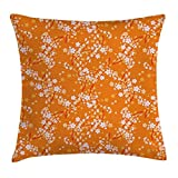 Floral Throw Pillow Cushion Cover, Vivid Blooming Tree Branc