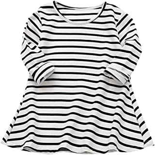 a6fc28c8d1 YOUNGER TREE Toddler Baby Girl Kids Casual Striped Long Sleeve Princess  Dresses Shirt Dress Spring Clothes