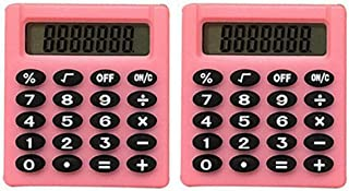 2Pcs Mini Electronic Calculator Portable Student 8-Digit Pocket Size Calculator Pink