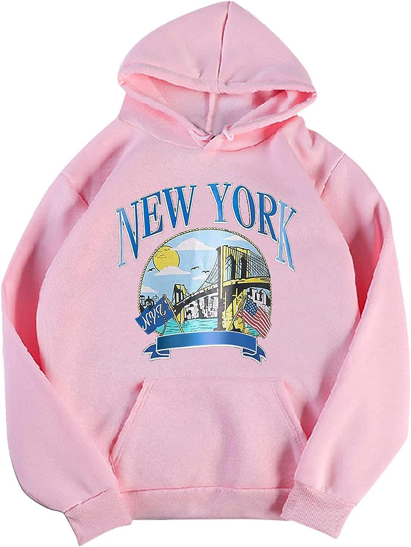 New York Graphic Womens Sweatshirt Pullover Lightweight Vintage Retro Solid Color Hoodie Gif Hooded Sweatshirt