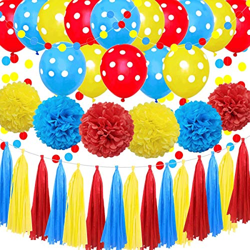 Carnival Blue Red Yellow 38pcs Circus Birthday Bachelorette Baby Shower Wedding Party Decoration Kit - - 12' 10' Tissue Pom Pom, 12' Latex Balloon, Paper Tassel, Circle Dot Garland