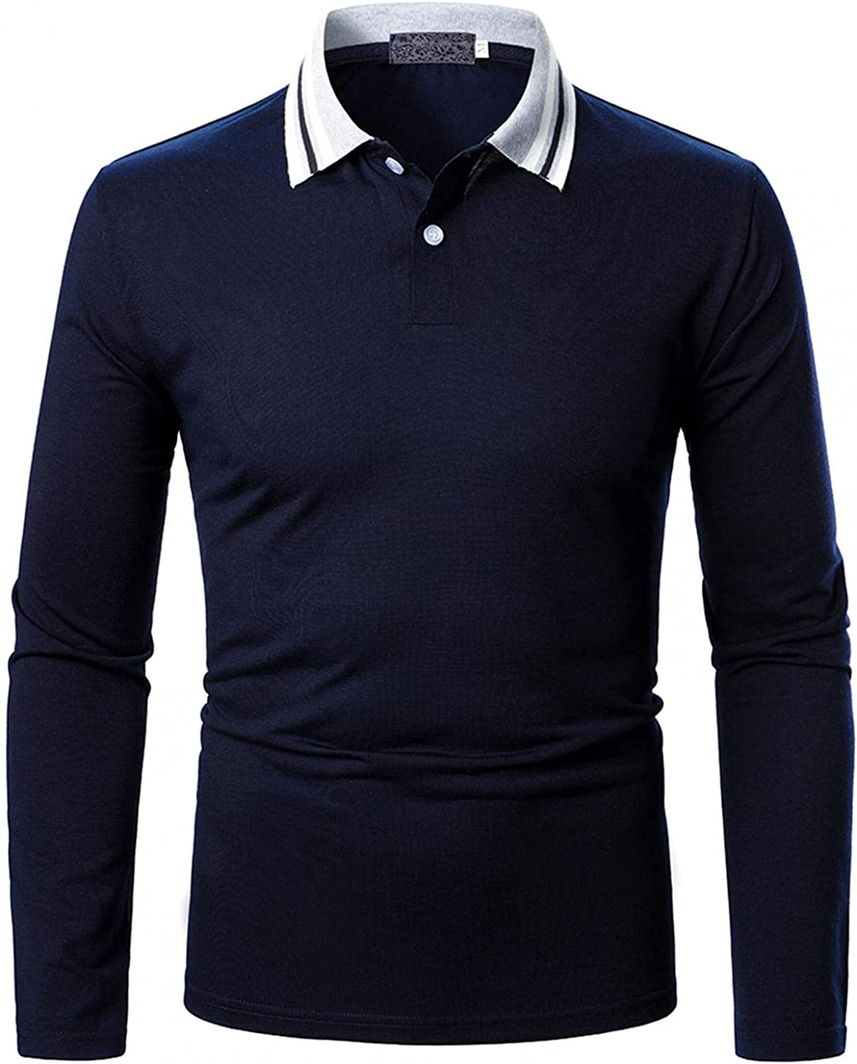 Burband Mens Long Sleeve Branded goods Polo Shirts Fit Contrast Casual Co Slim OFFicial shop