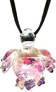 Handmade Pink Purple Sea Turtle Art Glass Blown Sea Animal Figurine Pendant Necklace Jewelry - Y2016