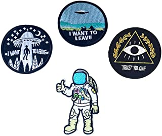 Fan-Ling I Want to Leave UFO Patches Astronaut Patch Trust No One Patch Embroidered,Fashion Applique Sequins Suit for DIY Your Personality Clothing,Jacket, Jean, Cap, T-Shirt (A)