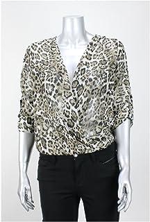 بلوزة BCX Juniors Khaki Black Animal Print Lace Back Foldover مقاس XS