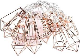 20 LEDs geométricos diamante cordão de luzes de metal para decoração de festa de casamento, quarto de aniversário