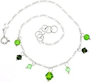 Adjustable 9-10 inch Sterling Silver Anklet Natural Faceted Peridot and Glass Seed Beads
