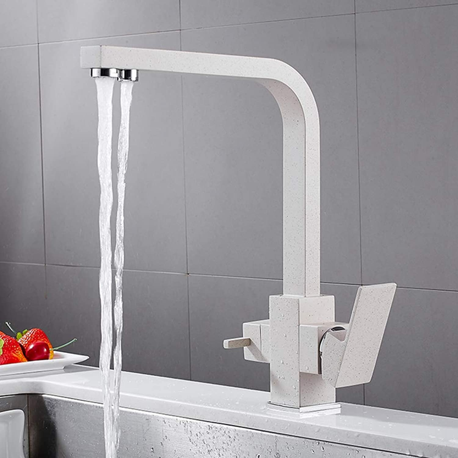FZHLR Chrome Black Oatmeal Solid Brass Square Multifunctional Kitchen Faucet Pure Water 3 Ways Faucet Drinking Water Mixer Tap Crane,Oatmeal with dot